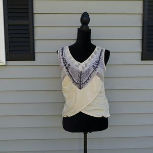 Free people cropped beaded lace tank top size XS
